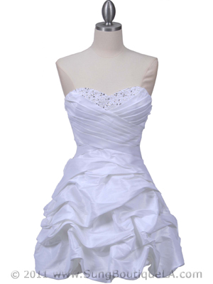 3054 White Taffeta Cocktail Dress, White