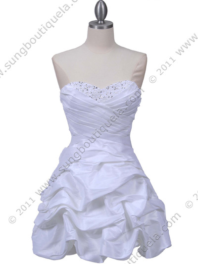 3054 White Taffeta Cocktail Dress - White, Front View Medium