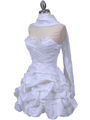 White Taffeta Cocktail Dress - Alt Image