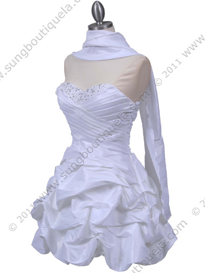 3054 White Taffeta Cocktail Dress - White, Alt View Medium