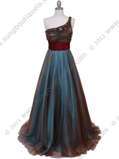 3057 Jade One Should Prom Gown - Jade, Front View Medium