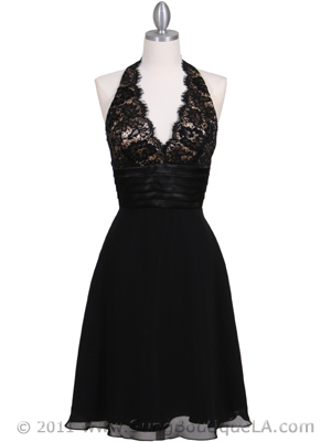 3059 Black Halter Cocktail Dress, Black