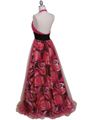 3060 Hot Pink Beaded Print Prom Dress - Hot Pink, Back View Thumbnail