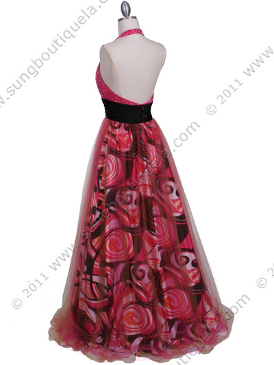 3060 Hot Pink Beaded Print Prom Dress - Hot Pink, Back View Medium