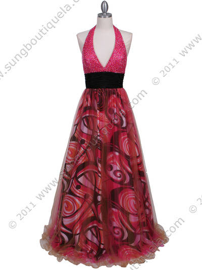 3060 Hot Pink Beaded Print Prom Dress - Hot Pink, Front View Medium
