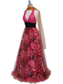 3060 Hot Pink Beaded Print Prom Dress - Hot Pink, Alt View Thumbnail