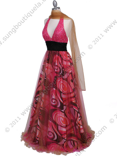3060 Hot Pink Beaded Print Prom Dress - Hot Pink, Alt View Medium