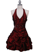 Burgundy Halter Taffeta Cocktail Dress