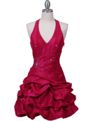 Fuschia Halter Taffeta Cocktail Dress