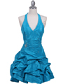 3062 Turquoise Halter Taffeta Cocktail Dress - Turquoise, Front View Thumbnail