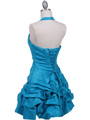 3062 Turquoise Halter Taffeta Cocktail Dress - Turquoise, Back View Thumbnail