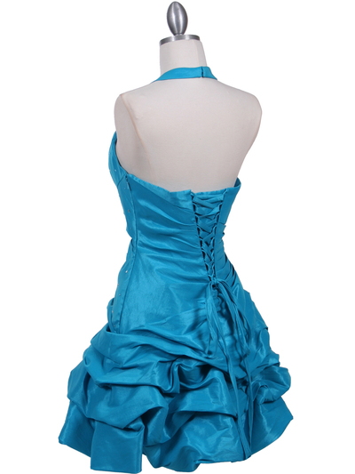 3062 Turquoise Halter Taffeta Cocktail Dress - Turquoise, Back View Medium