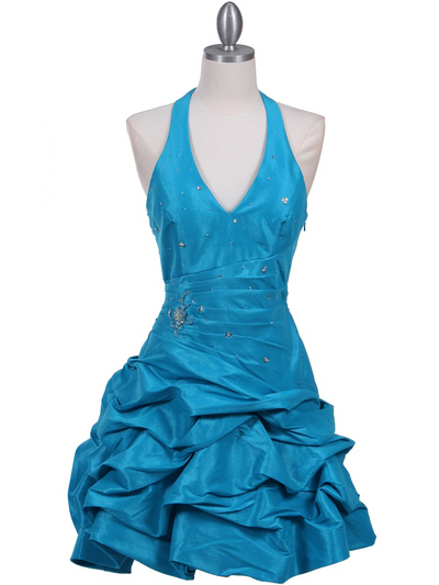 3062 Turquoise Halter Taffeta Cocktail Dress - Turquoise, Front View Medium