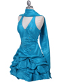 3062 Turquoise Halter Taffeta Cocktail Dress - Turquoise, Alt View Thumbnail
