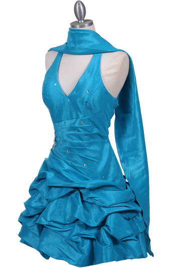 3062 Turquoise Halter Taffeta Cocktail Dress - Turquoise, Alt View Medium