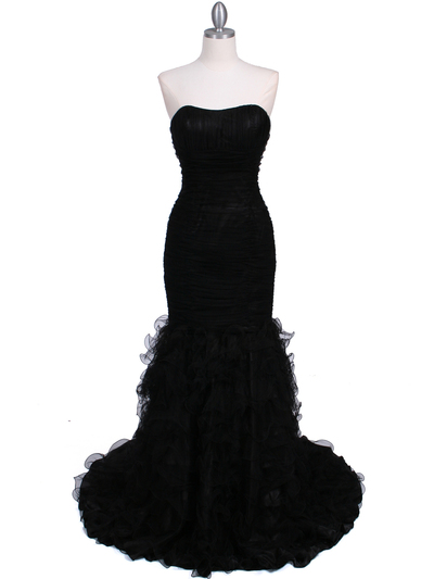 3063 Black Lace Prom Dress - Black, Front View Medium