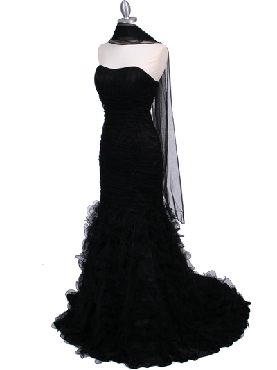 3063 Black Lace Prom Dress - Black, Alt View Medium