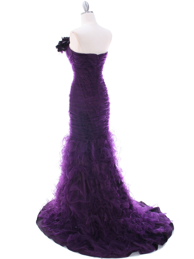 3063 Purple Lace Prom Dress - Purple, Back View Medium
