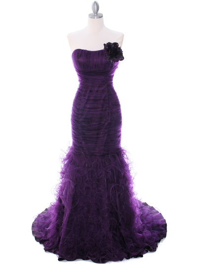 3063 Purple Lace Prom Dress - Purple, Front View Medium