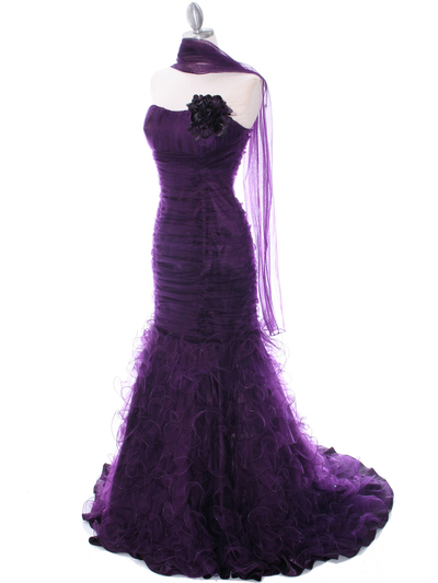 3063 Purple Lace Prom Dress - Purple, Alt View Medium