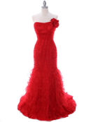 3063 Red Lace Prom Dress, Red