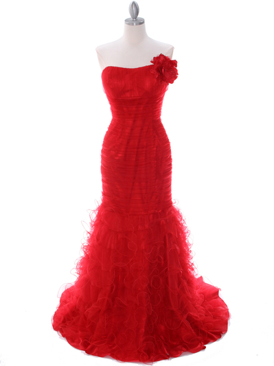 3063 Red Lace Prom Dress - Red, Front View Medium