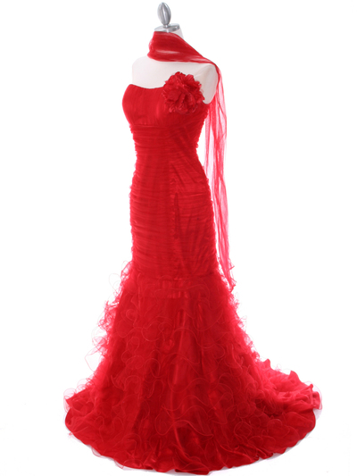 3063 Red Lace Prom Dress - Red, Alt View Medium