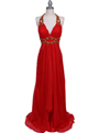 3066 Red Halter Beaded Chiffon Prom Evening Dress - Red, Front View Thumbnail