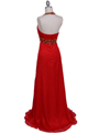 3066 Red Halter Beaded Chiffon Prom Evening Dress - Red, Back View Thumbnail