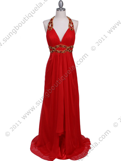 3066 Red Halter Beaded Chiffon Prom Evening Dress - Red, Front View Medium