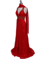 Red Halter Beaded Chiffon Prom Evening Dress - Alt Image