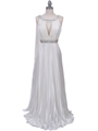 3071 Ivory Pleated Evening Gown - Ivory, Front View Thumbnail