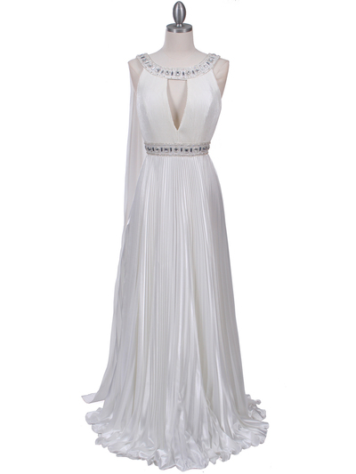 3071 Ivory Pleated Evening Gown - Ivory, Front View Medium