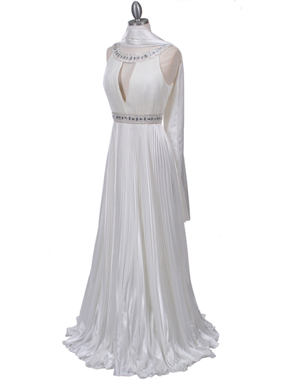 3071 Ivory Pleated Evening Gown - Ivory, Alt View Medium