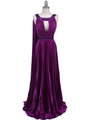 3071 Purple Pleated Evening Gown - Purple, Front View Thumbnail