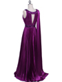 3071 Purple Pleated Evening Gown - Purple, Back View Thumbnail