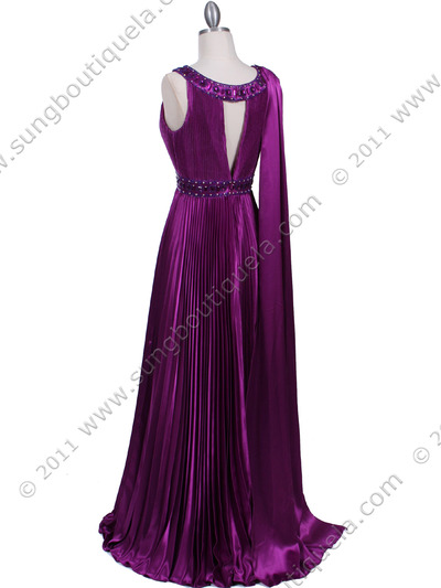 3071 Purple Pleated Evening Gown - Purple, Back View Medium