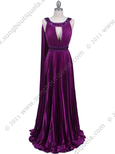 3071 Purple Pleated Evening Gown - Purple, Front View Medium