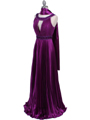 Purple Pleated Evening Gown
