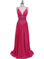 Hot Pink Beaded Chiffon Prom Evening Dress - Front Image