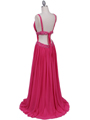 Hot Pink Beaded Chiffon Prom Evening Dress - Back Image