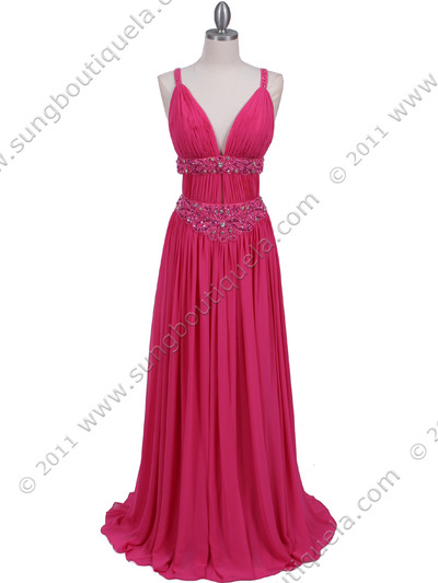 3072 Hot Pink Beaded Chiffon Prom Evening Dress - Hot Pink, Front View Medium