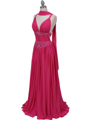 Hot Pink Beaded Chiffon Prom Evening Dress - Alt Image