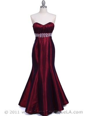 <br />A dramatic wine strapless tafetta evening gown used for some of the bridesmaids in David Tutera's My Fair Wedding Phantom of the Opera episode.