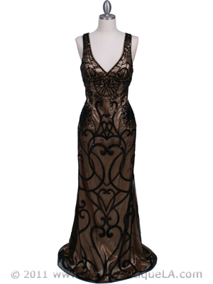 3081 Black Gold Lace Sequin Evening Dress, Black Gold