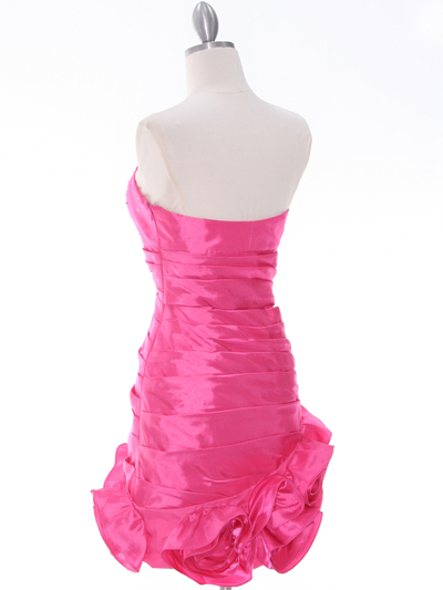3158 Hot Pink Strapless Pleated Cocktail Dress - Hot Pink, Back View Medium