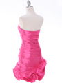 Hot Pink Strapless Pleated Cocktail Dress - Back Image