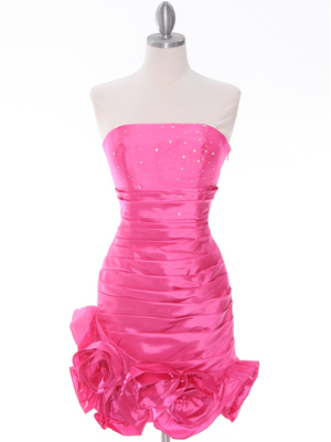 Hot Pink Strapless Pleated Cocktail Dress - Front Image