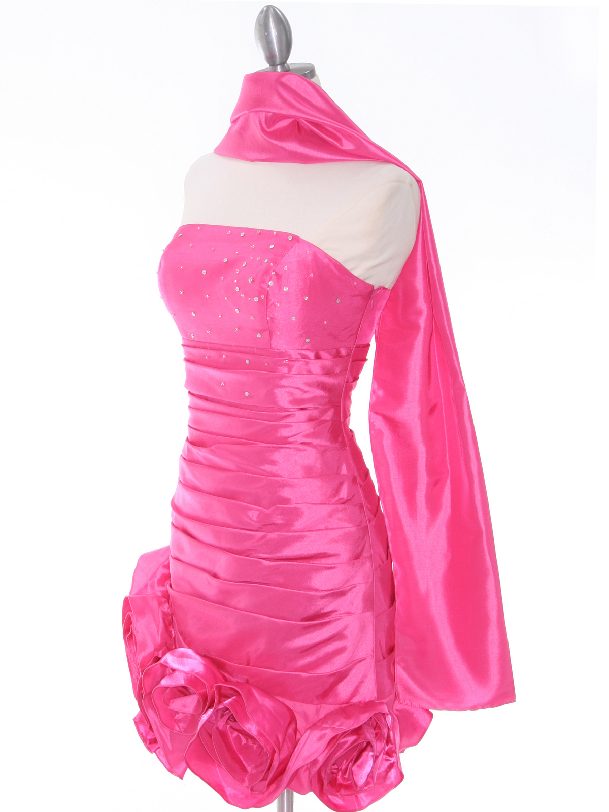 Hot Pink Strapless Pleated Cocktail Dress | Sung Boutique L.A.