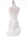 3158 Off White Strapless Pleated Cocktail Dress - Off White, Back View Thumbnail